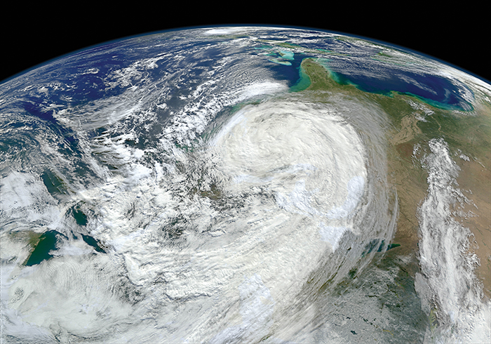 A view of Hurricane Sandy from space.