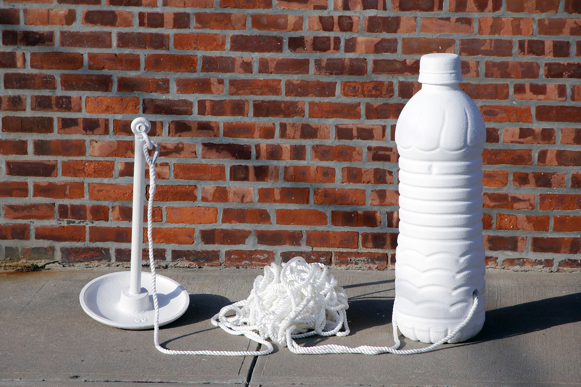 Water Bottle Buoy (white) Brickwall - Artwork by Christopher Saucedo
