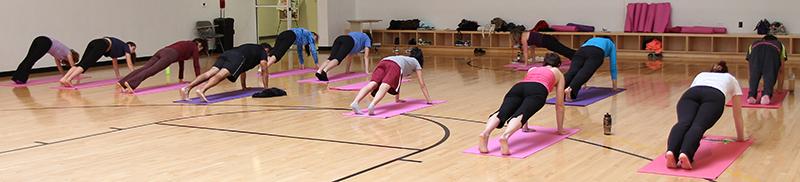 Yoga on pink mats