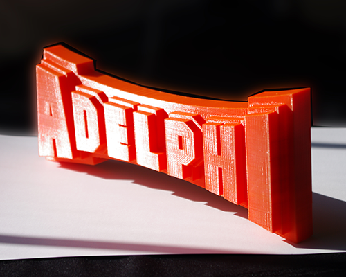 Makerbot 3D print of Adelphi athletics logo