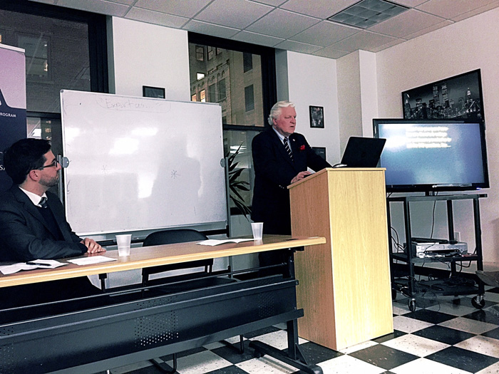 Dr. Weiskel giving his presentation on  Climate  Change  at  Bard  College's  Globalization  &  International  Affairs  Program with Professor Peter DeBartolo  as Moderator.