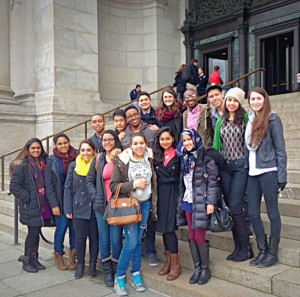 Students  in front of the American Museum of  Natural History on March 28th.